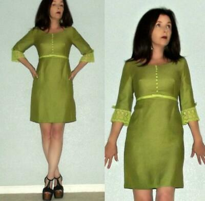306b7407cfc3 Mod XS S Vtg 60s Lace Buttons Bows Bell Sleeve Space Age Twiggy Mini Dress