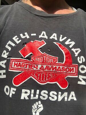 RARE VINTAGE HARLEY DAVIDSON OF RUSSIA T - SHIRT SIZE LARGE Worn-out Black