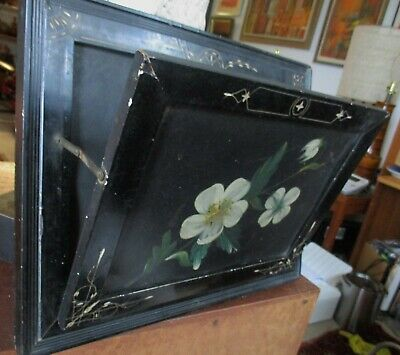 Antique Victorian Ebonized Eastlake Wall Pocket Mail H/P tole front