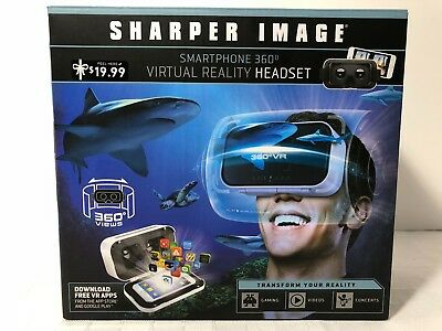 Sharper Image Smartphone 360 Degree Virtual Reality Headset - White Brand New