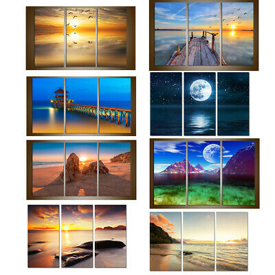 FRAMED Modern Contemporary Canvas Wall Art Print Painting Sea Sunset Seascape