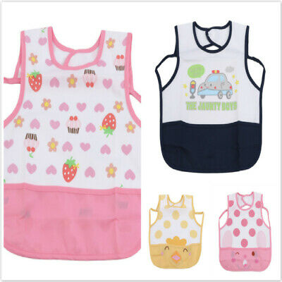Children's Waterproof sleeveless Bibs Baby Toddler Feeding Smock Bibs Apron B