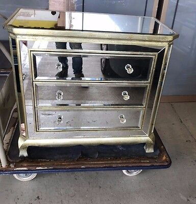 Art Deco Mirrored Italian Chest Drawers Commode Cabinet Bevelled Mirror Gold