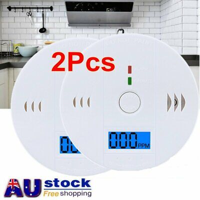 2X CO Carbon Monoxide Poisoning Gas Sensor Alarm Smoke Detector AU stock LCD