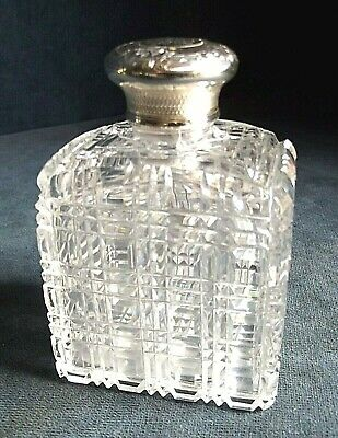 GOOD Large ~ SOLID SILVER Topped ~ Lotion / Scent BOTTLE ~ London 1859