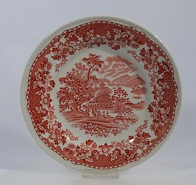 Woods Burslem Seaforth in rot Speiseteller Teller Dm 25,2 cm Keramik England