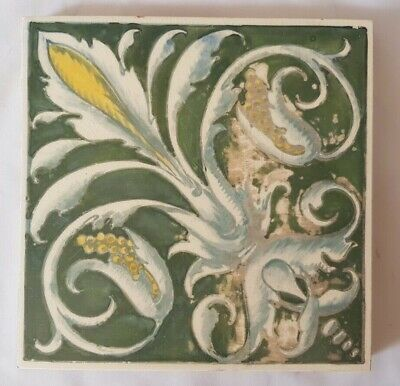 Charming Unusual Minton Hand Painted Regal Design Victorian Tile. Shabby Chic