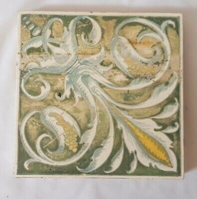 Charming Unusual Minton Hand Painted Elegant Design Victorian Tile. Shabby Chic