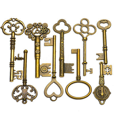 9 PCS BIG Large Antique Vtg old Brass Skeleton Keys Lot Cabinet Barrel