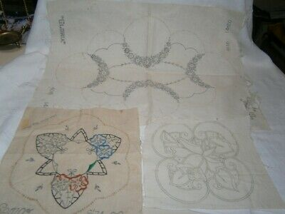 3 Vintage Linen Doylies To Complete, 1 Large 2 Small No Cottons - Floral Designs