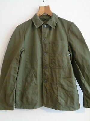 Vtg NOS French HBT cotton olive OD work chore worker jacket