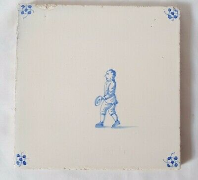 Charming Antique Delft Tile With Male Figure  13.5Cm