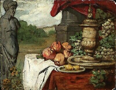19th CENTURY FRENCH OIL ON PANEL - STILL LIFE FRUIT & STATUE IN LANDSCAPE