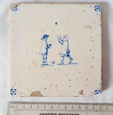 Striking Antique Delft Tile With Men Playing Boule Design