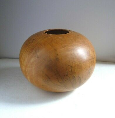 PAUL CLARE Large Turned Wood Globe VASE. Spalted Sycamore 1980's Vintage Wales