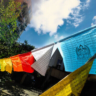 5M 21Pcs Prayer Flags Tibet Buddhist Windhorse Religious Flags Scriptures Temple