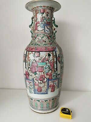 Grand vase ancien porcelaine de Chine polychrome décor de personnage H 60 cm