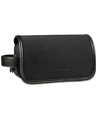 Burberry Men Toiletry Case Pouch Shaving Dopp Kit Black Bag NEW