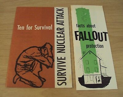 "1958/61 'Cold War' Civil Defense Booklets~""SURVIVE NUCLEAR ATTACK/Facts-FALLOUT~"