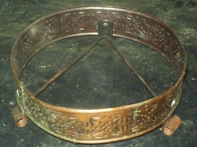Vintage Arts & Crafts  SOLID Copper & Wrought Iron Hot Plate  / pattern  sun god