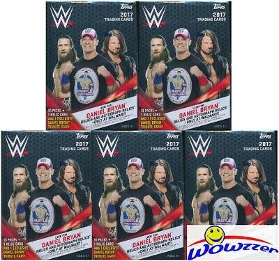 (5) 2017 Topps WWE Wrestling EXCLUSIVE HUGE Factory Sealed Blaster Box-5 RELICS