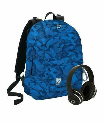 Zaino Scuola Seven Blu Reversibile Con Cuffie Wireless  PS 30102 crowdy