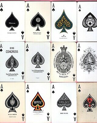 12 Single Swap Playing Cards ACE OF SPADES LOT ALL DIFFERENT SOME VINTAGE