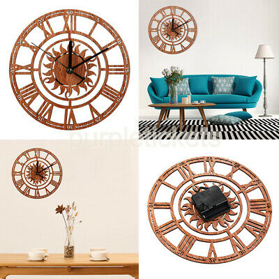 Wooden 3D Wall Clock Vintage Roman Numeral Skeleton Design For Home Office Decor