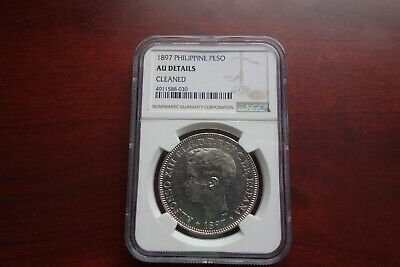 1897 Philippines Peso silver coin NGC AU Details
