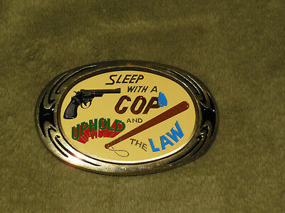 Vintage 80's SLEEP WITH A COP UPHOLD THE LAW Solid Brass Nap Inc Belt Buckle