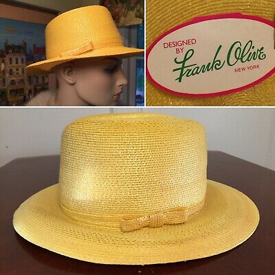 d40e1668 New w/ Tags Vtg FRANK OLIVEYellow Lacquered Straw Panama Sun Hat Brim Bow  Small
