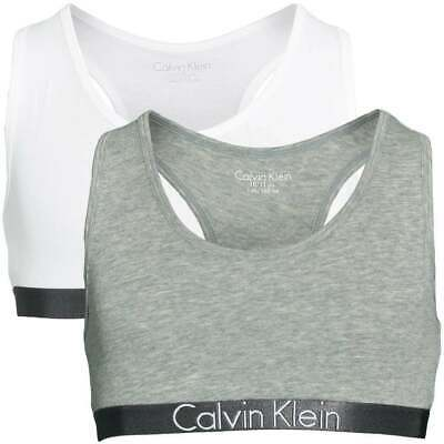 Calvin Klein GIRLS 2 Pack Customized Stretch Bralette  Heather Grey / White Bra