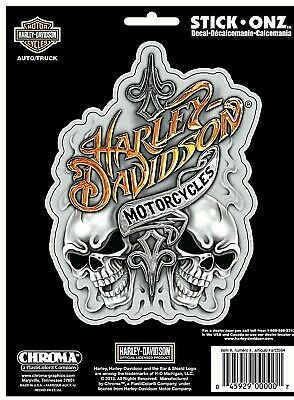 Harley-Davidson Text with Skulls Stick Onz Decal / Sticker *Free Shipping
