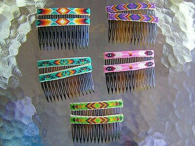 LOT, 5, Handmade Beaded Hair Combs / Barrettes Sets Navajo Indian Nathaniel