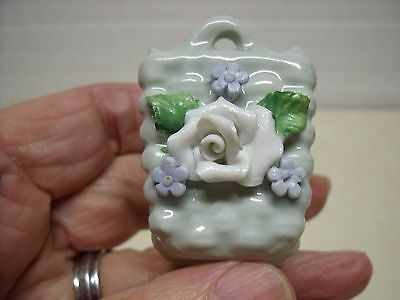 """Antique German Miniature porcelain flower basket made in Germany 1-1/2"""" tall"""
