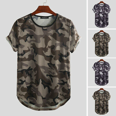 Men's Short Sleeve Military Army Camo Camouflage Tactical Summer Tee T Shirt Top