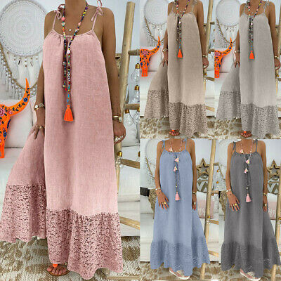 Women's Fashion Summer Sleeveless Dress Solid Backless Casual Loose Long Dress Q