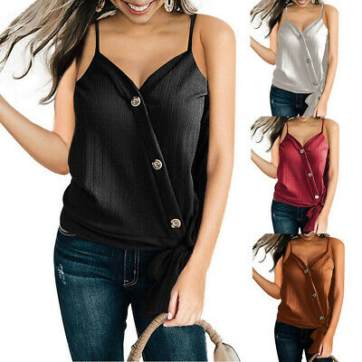 Women Fashion V Neck Sleeveless T-Shirt Loose Solid Waffle Knit Knot Blouse Top