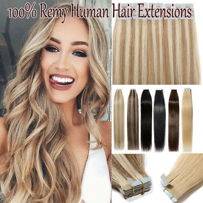 Tape Glue in Human Hair Extensions Ombre Virgin Remy Human Hair 18/613 16-24inch