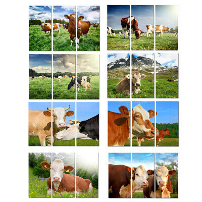 Large Wall Art 3Panel Home Deco Animal Cows scenery HD Picture Printed On Canvas