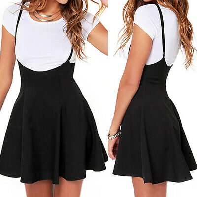 Women Strappy Plus Size High Waist Overalls Pinafore Skirt Mini Skater Dress