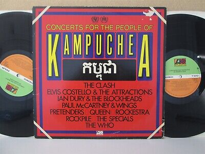 KAMPUCHEA LIVE- The Best of 2-LP (Queen/Clash/Specials/Who/Paul McCartney) EX-