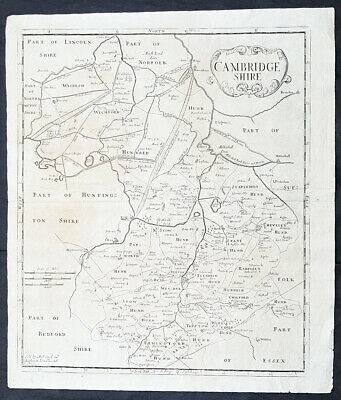 1722 Robert Morden Antique Map of the English County of Cambridge - 50149