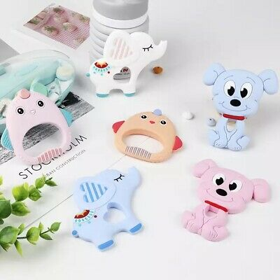 1X Baby Silicone Teether Teething Toy Animal Ring Chewable Toys Pacifier DIY