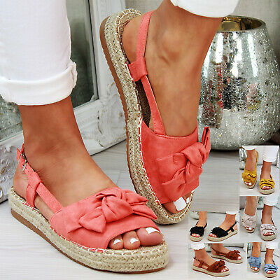 Womens Flat Sandals Comfy Peep Toe Espadrilles Ankle Strap Ladies Holiday Shoes