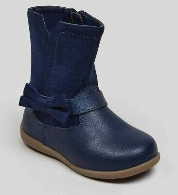 Toddler Girls BNWT 1st Walkers Navy Bow  Knee Boots sz 3 6 UK (ED541)
