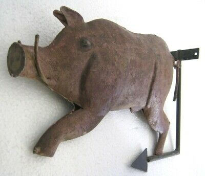 Old Iron Pig Trade Sign Store Display Butcher Sign Embossed