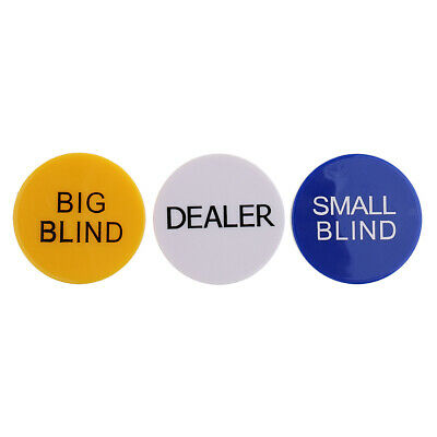 Set of Small Blind Big Blind Dealer Button for Poker Card Casino Game Parts