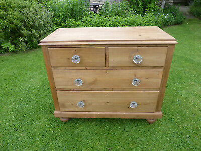 Antique Victorian Stripped Pine Chest Drawers, 2 +2 High. Glass Knobs