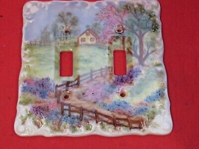 Ceramic Hand Painted Cottage garden Switch Plate Cover